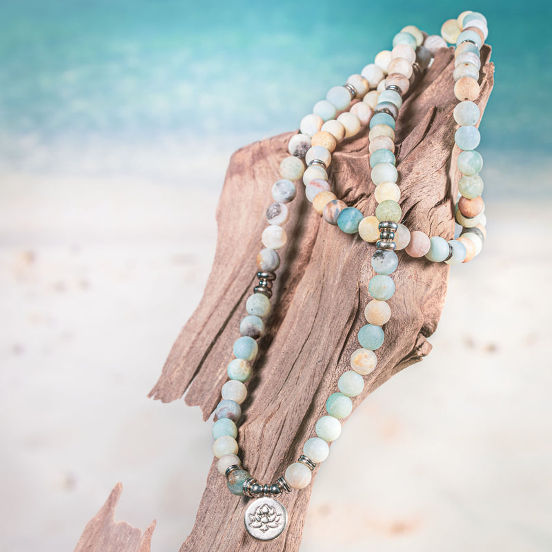 Amazonite Natural Gemstone mala beaded bracelet with silver accents and a silver lotus flower coin pendant