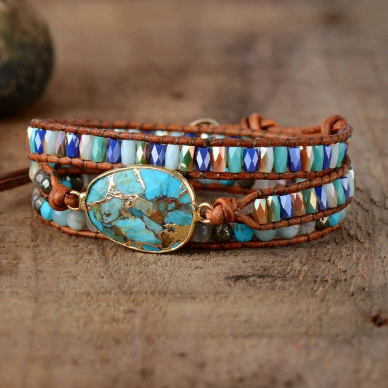 Crystal and multi-colored gemstone beaded leather 3-wrap bracelet with large natural turquoise stone centerpiece