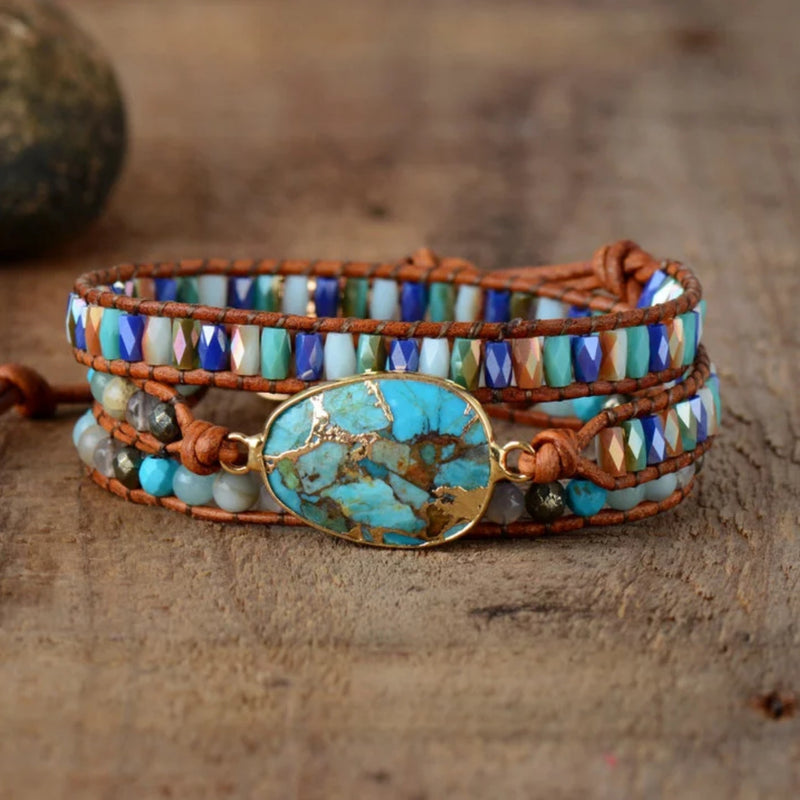 Crystal beaded leather 3-wrap bracelet with large natural turquoise stone centerpiece