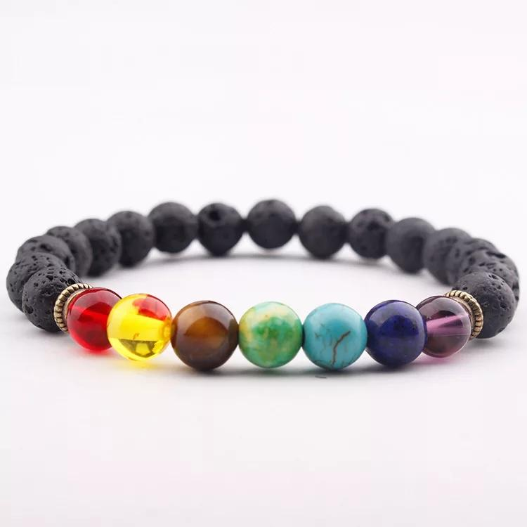 Essential oil diffusing Black lava stones basalt beaded bracelet with 7 rainbow colored chakra beads
