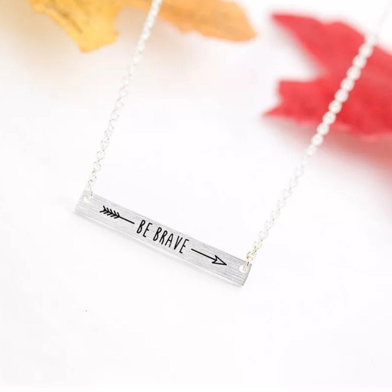 Be Brave<br> Bar Necklace