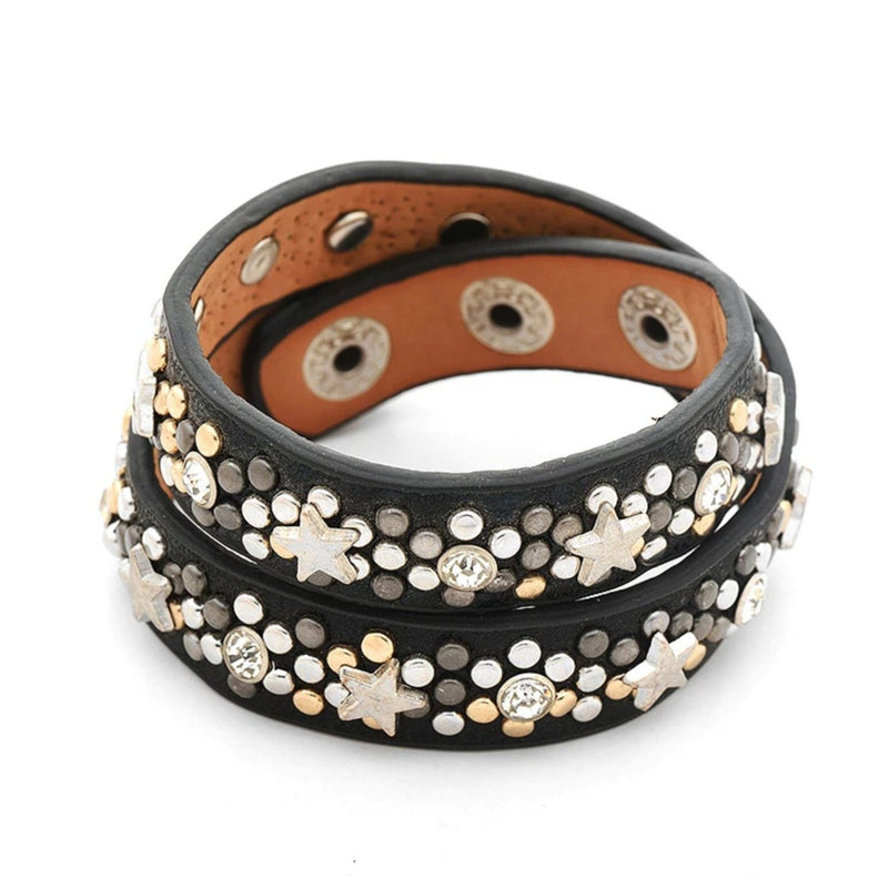 black leather wrap bracelet with metal studs and 3 snap closures
