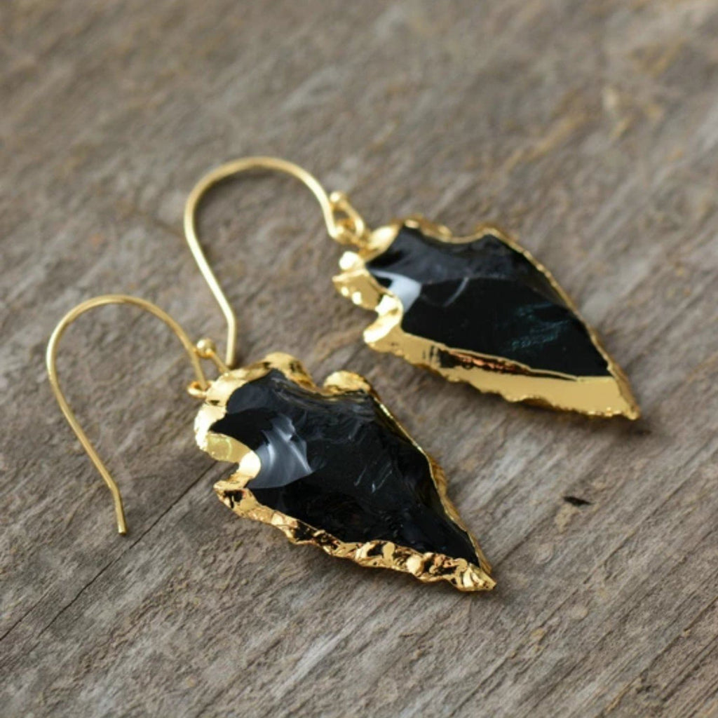 Black Obsidian<br> Arrowhead Earrings