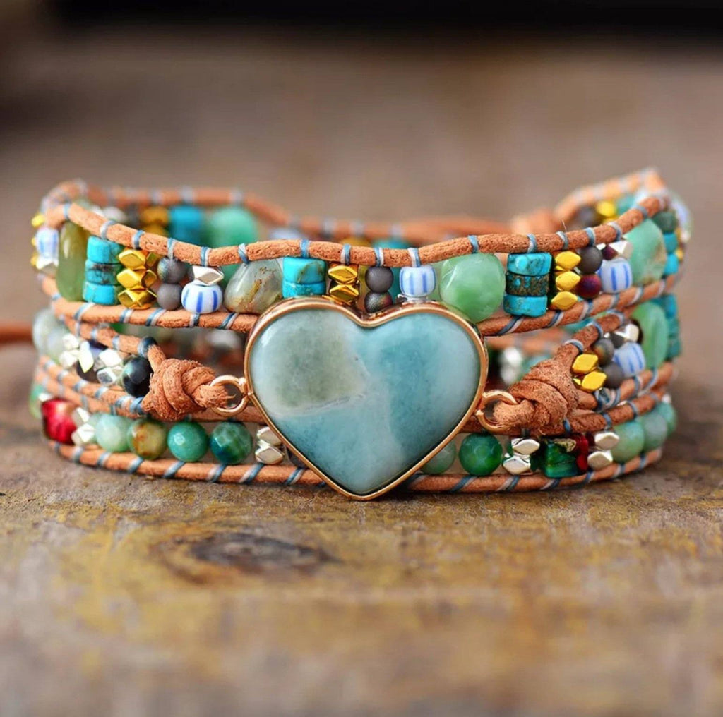 Leather and gemstone boho wrap bracelet with blue stone heart centerpiece and turquoise and amazonite beads