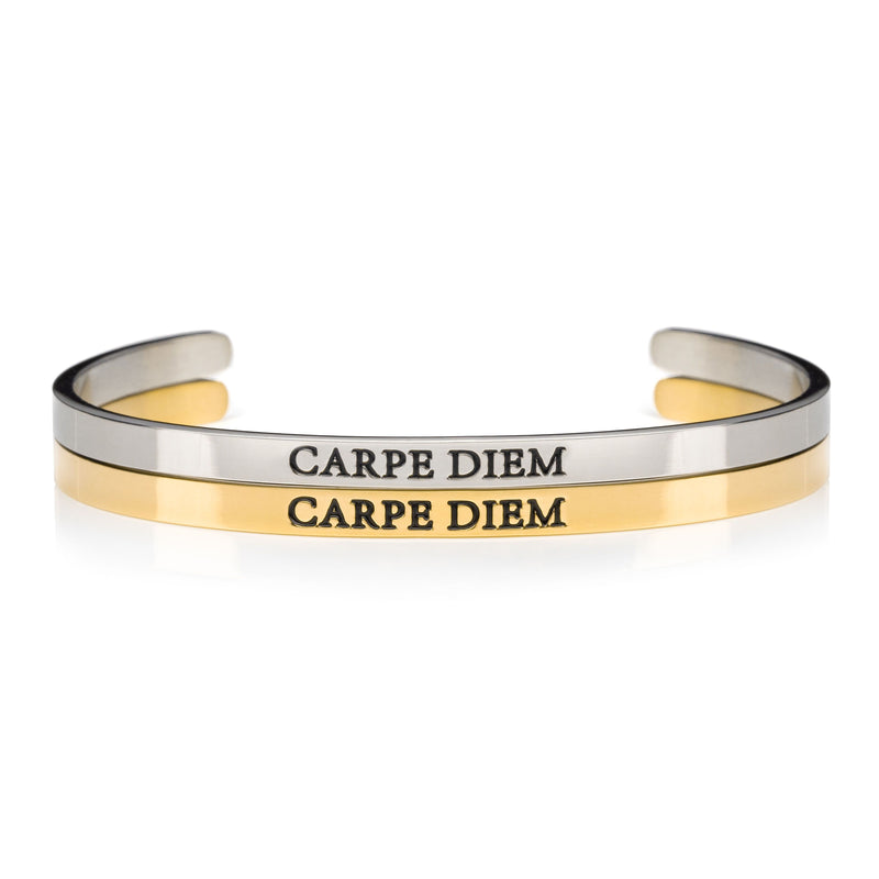 Carpe Diem Silver and gold stainless steel open womens inspirational message cuff bracelets