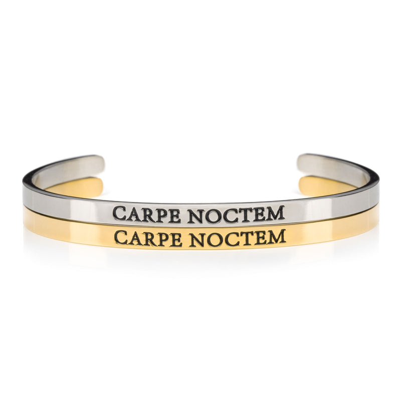 Gold and silver Carpe Noctem stainless steel cuff bracelet for night shift workers and insomniacs