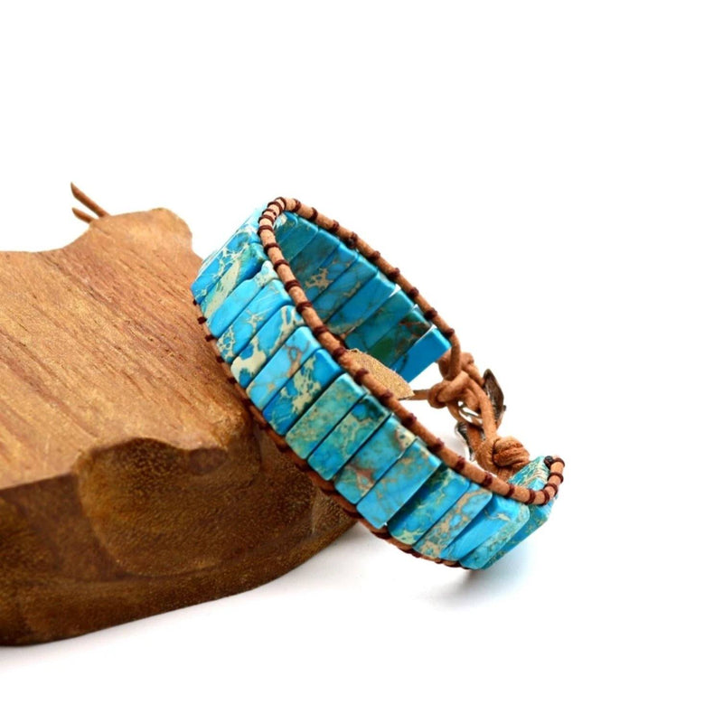 Turquoise Stone beaded chakra bracelet with brown leather cording