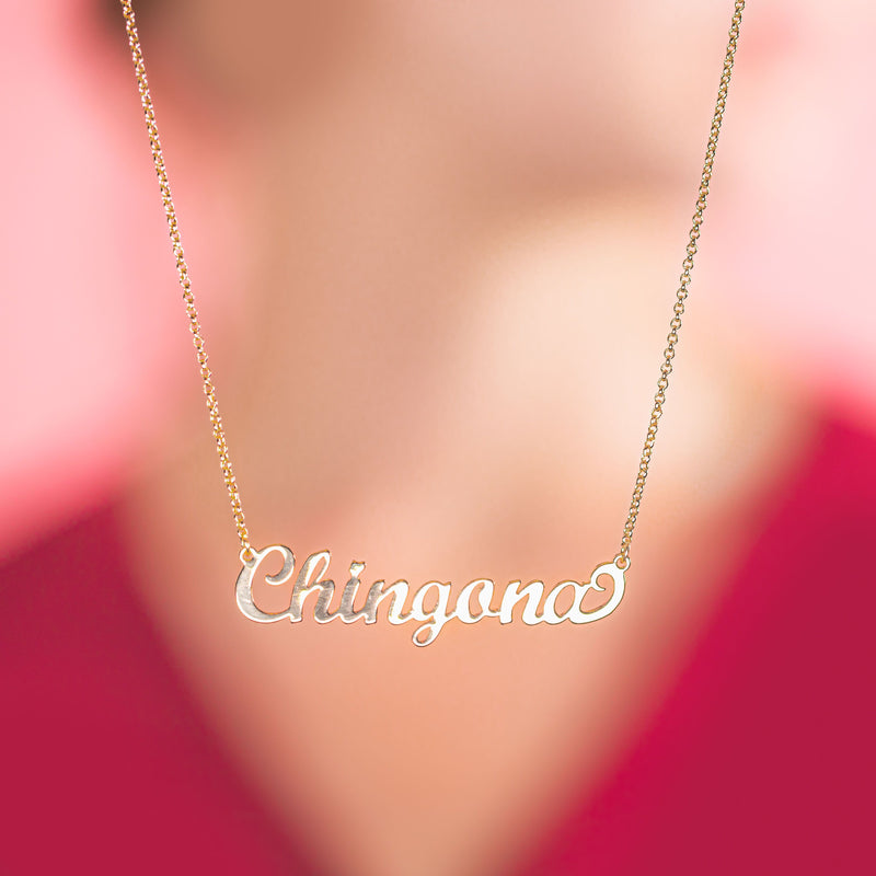 Women's Cursive Gold-toned brass Chingona word necklace