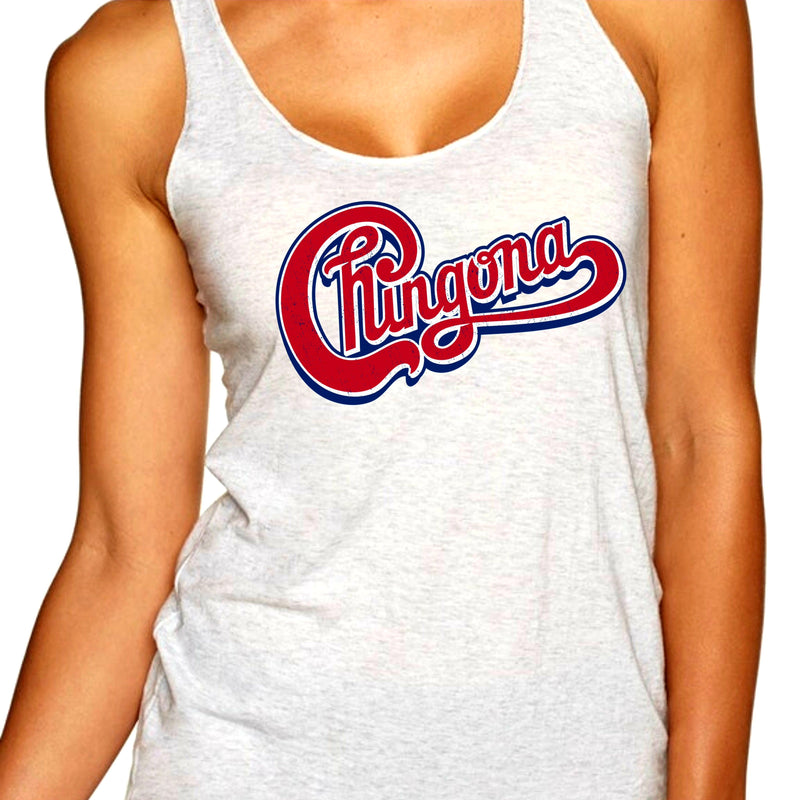 Woman in heather white tank top with red distressed Chingona cursive graphic