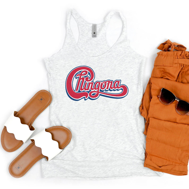 Ladies Heather white tank top with red distressed Chingona cursive graphic
