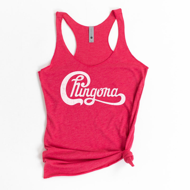 Bright pink tank top with white distressed Chingona cursive graphic