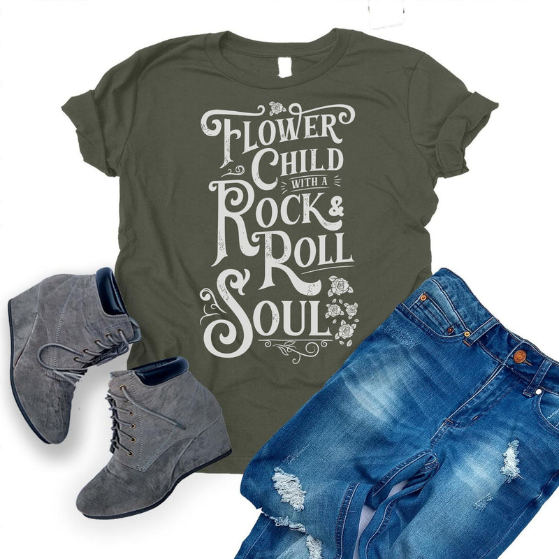 Army Green T-shirt with distressed white Flower Child With A Rock and Roll Soul graphic