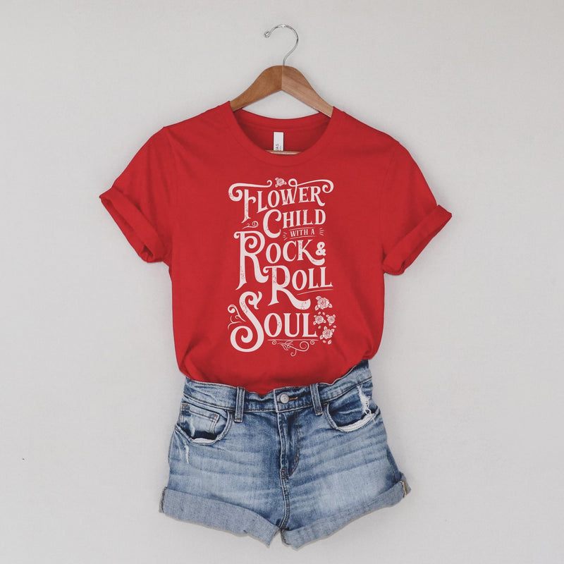 Red T-shirt with distressed white Flower Child With A Rock and Roll Soul graphic