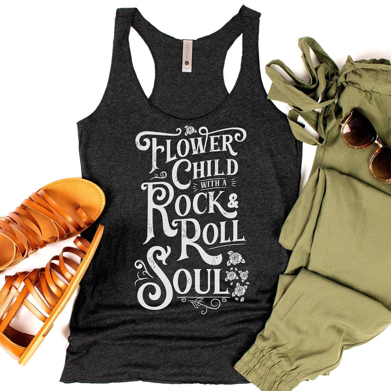 Heather black racerback tank top with  white Flower Child with a Rock & Roll Soul graphic