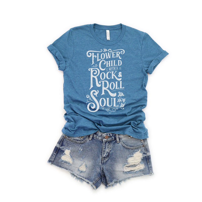 Womens Heather Teal T-shirt with distressed white Flower Child With A Rock and Roll Soul graphic
