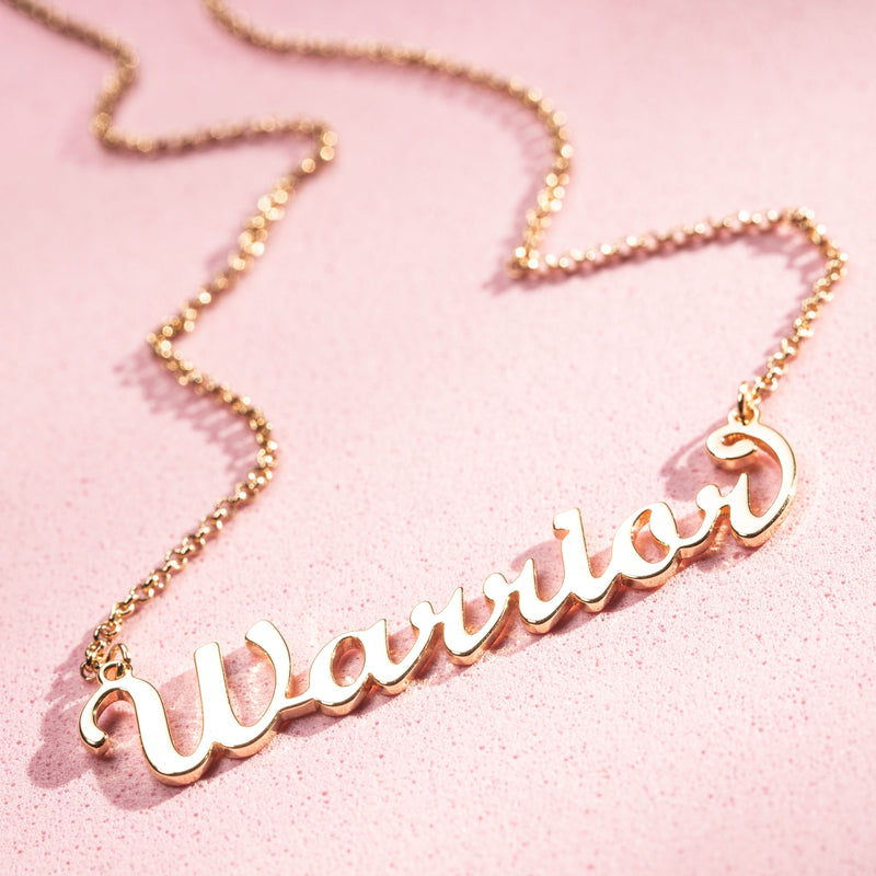 Gold Brass Cursive Warrior Word Necklace