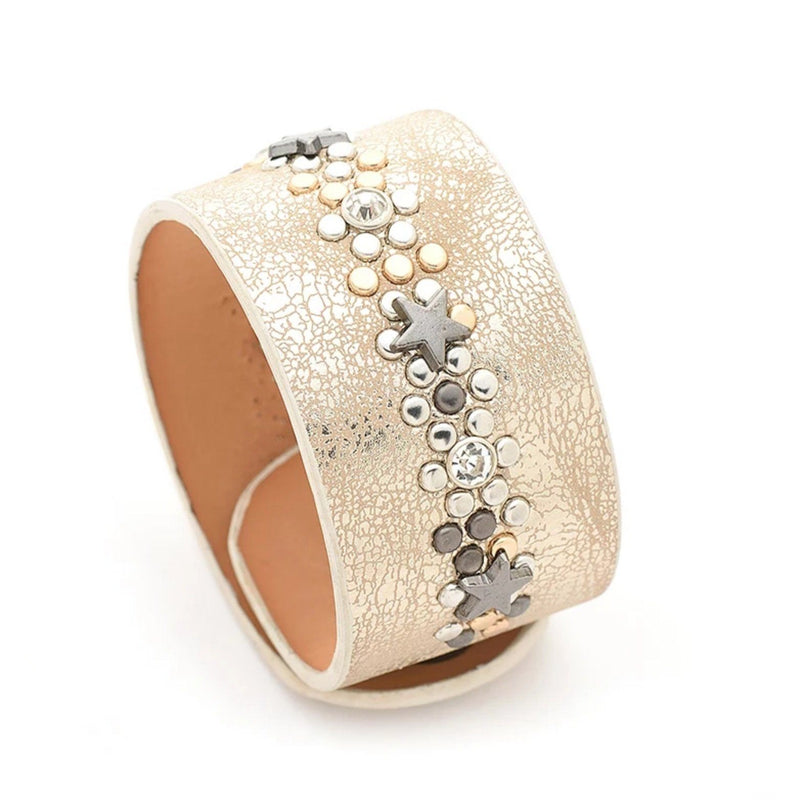 gold leather studded bracelet
