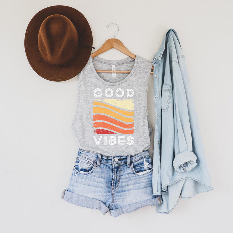 Heather gray good vibes muscle tank with retro red, orange and yellow distressed rainbow