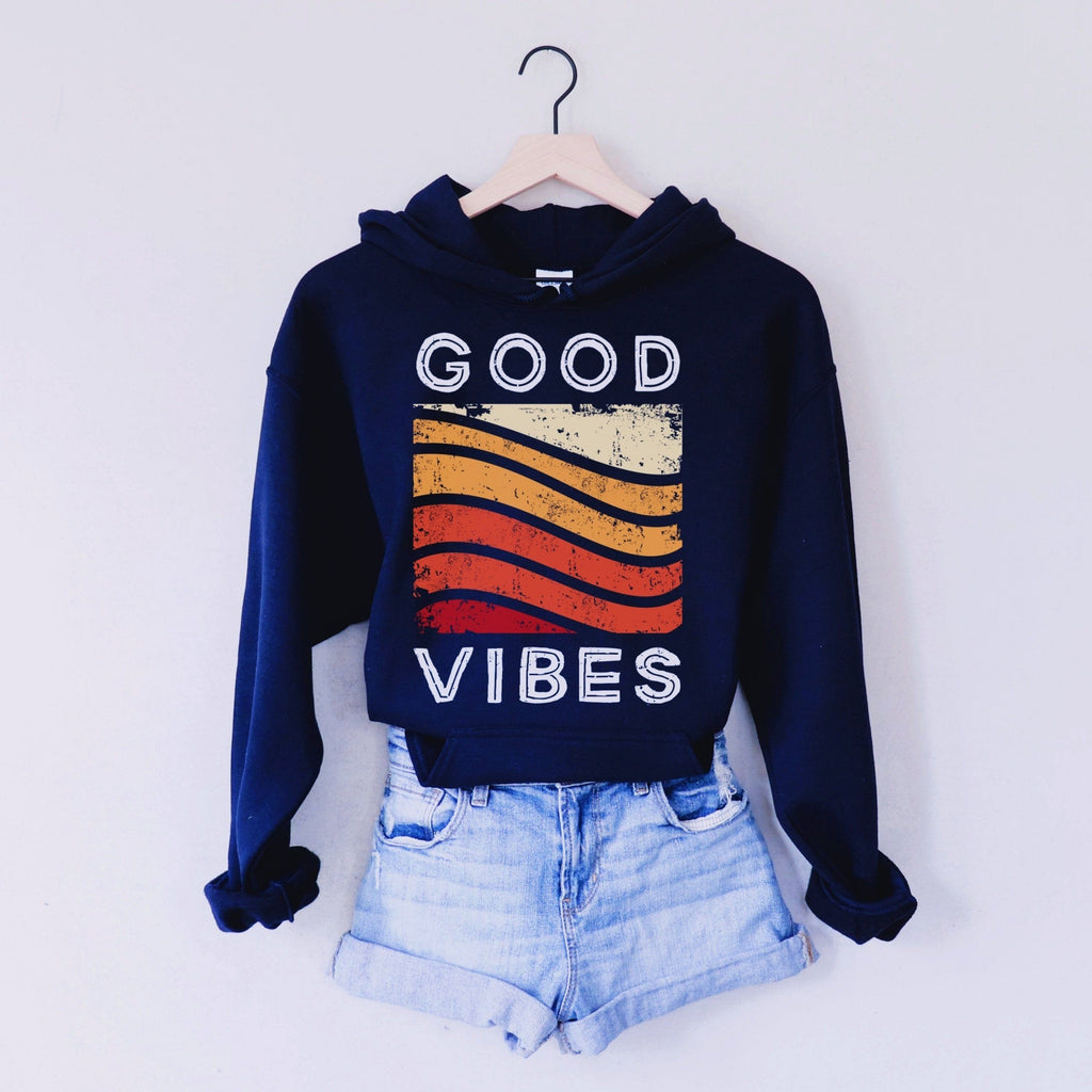 Navy Blue Hoodie with Good Vibes text and red, orange, and yellow rainbow graphic