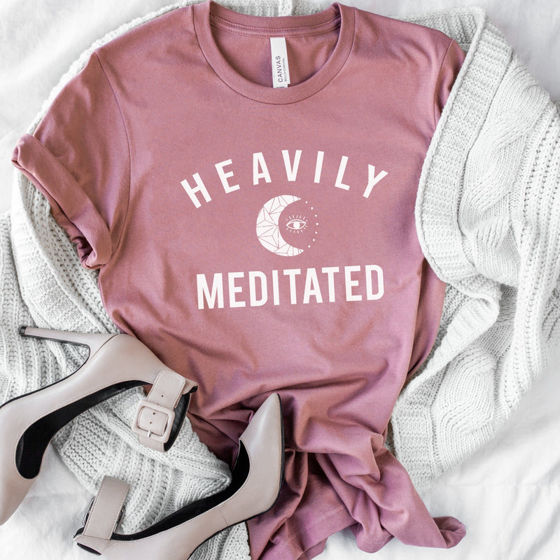 Womens mauve pink t-shirt with white HEAVILY MEDITATED graphic and a white moon in the center