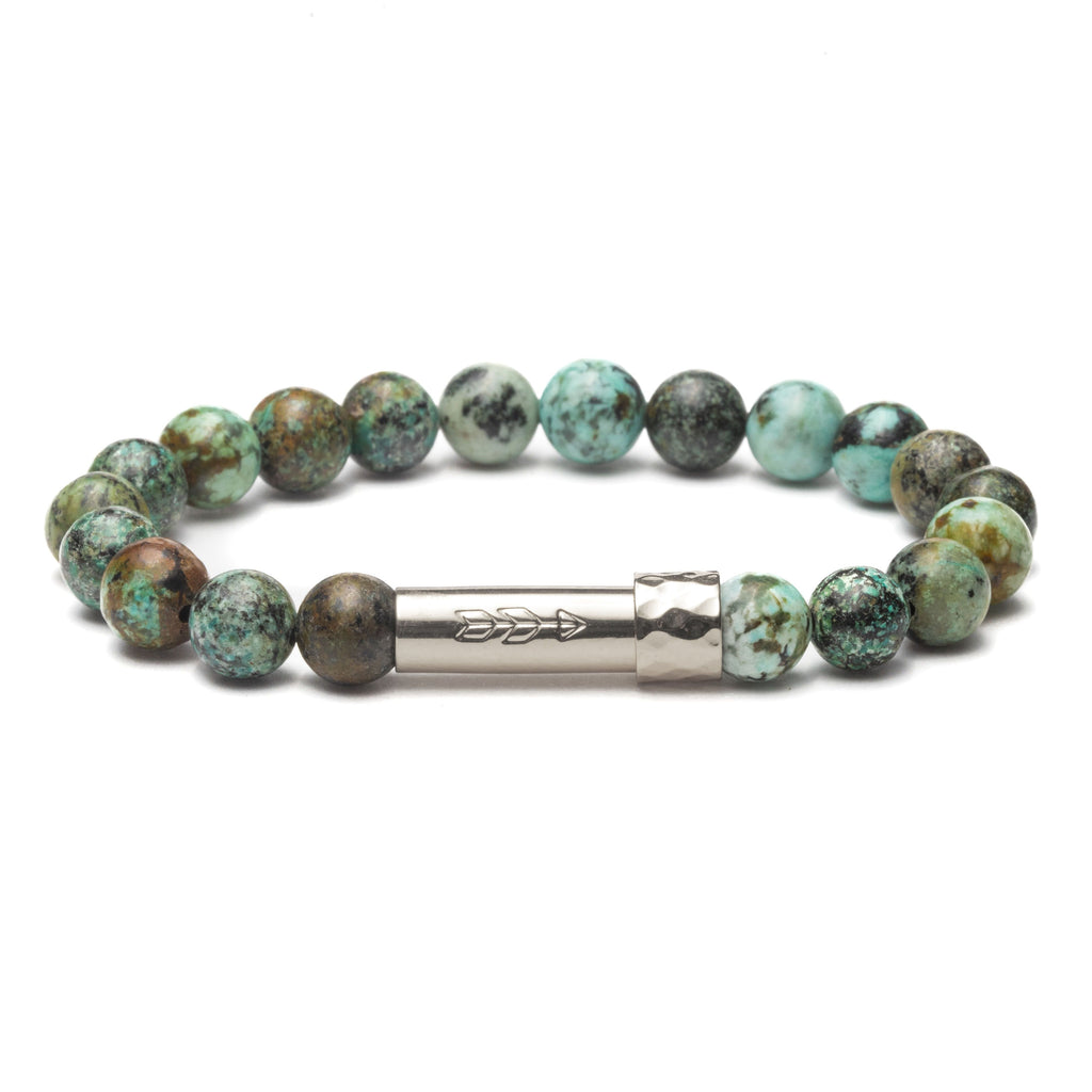 African Turquoise gemstone bracelet with silver secret clasp for a hidden paper message to go inside