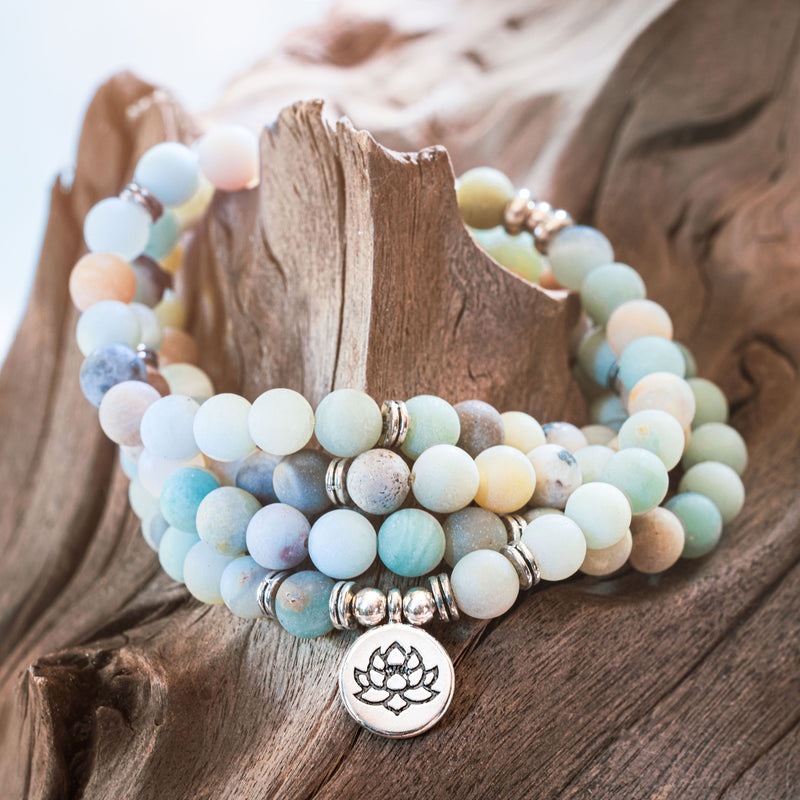 Blue and Green Amazonite Gemstone mala beaded bracelet necklace with silver accents and a silver lotus flower coin pendant