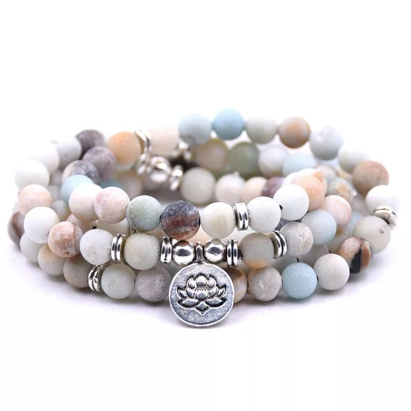 Light Blue Amazonite Natural Gemstone mala beaded bracelet with silver accents and a silver lotus flower coin pendant