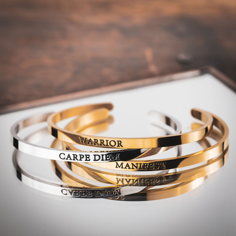 Silver and gold Womens adempowering stainless steel cuff bracelets with  inspirational words