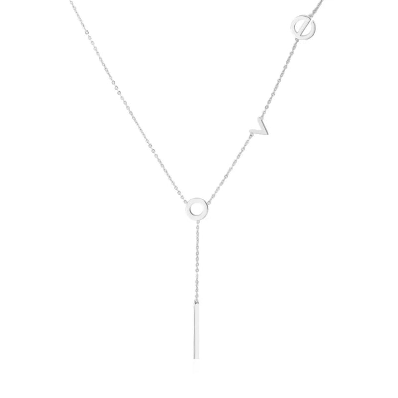 "Gold lariat necklace with lowercase latters spelling ""love"", with the letter ""l"" hanging down the center"