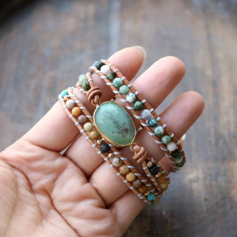Light brown leather and gemstone beaded wrap bracelet, 3-time wrap, with a green jade faceted gemstone centerpiece