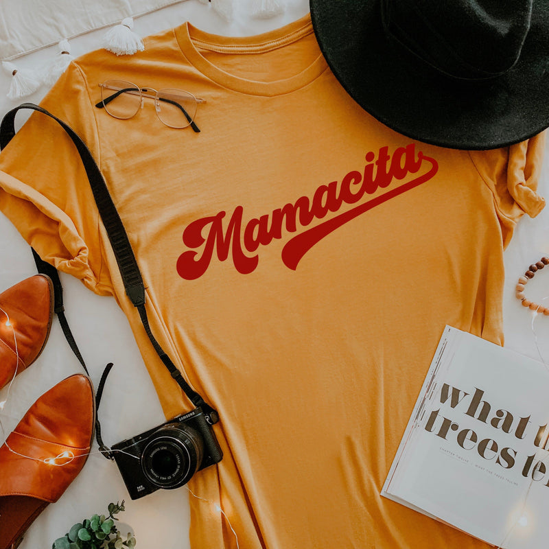 Yellow Tee Shirt with Red Cursive Mamacita Graphic
