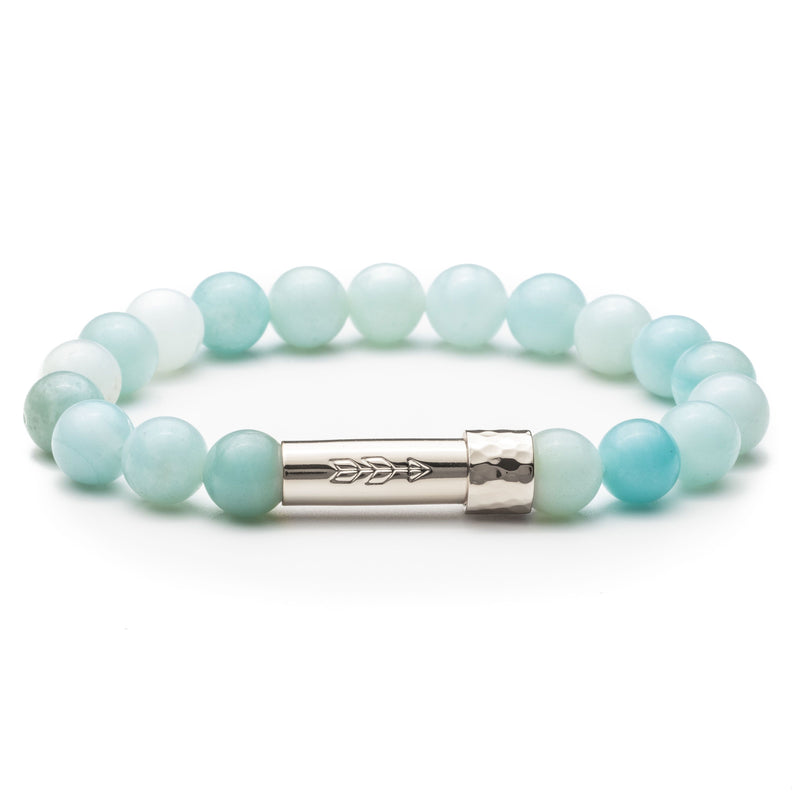 Blue Amazonite Beaded bracelet with silver secret clasp for a hidden paper message to go inside