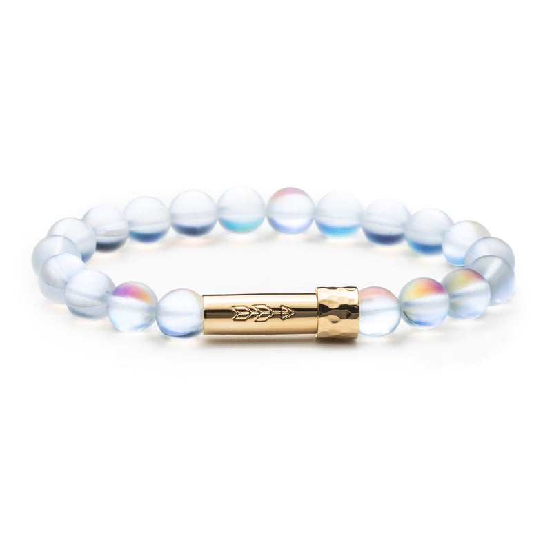 Iridescent glass beaded intention bracelet with gold cylinder clasp that unscrews to hold a small scroll of paper with your goal, wish or mantra