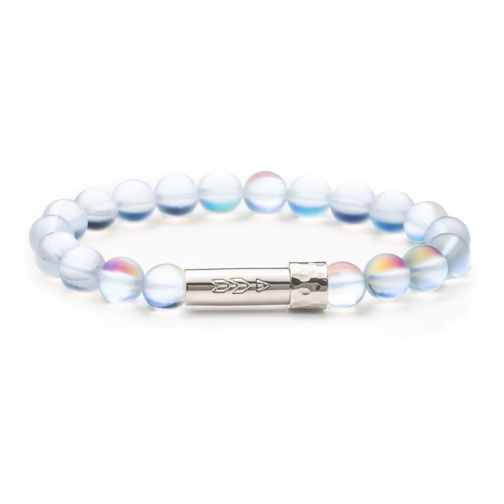 Iridescent glass beaded intention bracelet with silver cylinder clasp that unscrews to hold a small scroll of paper with your goal, wish or mantra