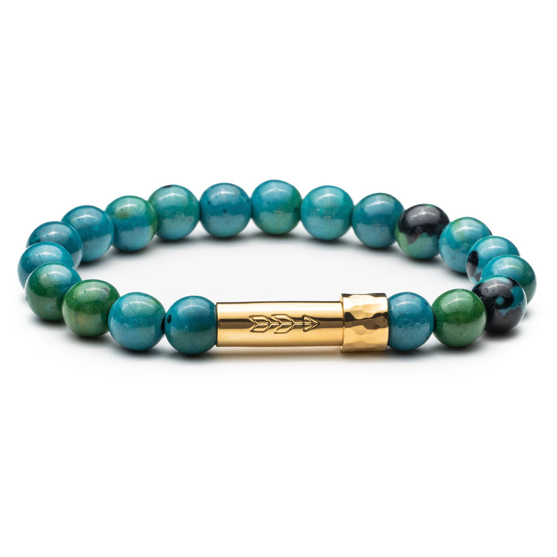 Blue and green Chrysocolla gemstone beaded intention bracelet with gold tube clasp with handstamped arrow. Clasp unscrews to allow for a small paper scroll to be inserted with a mantra.