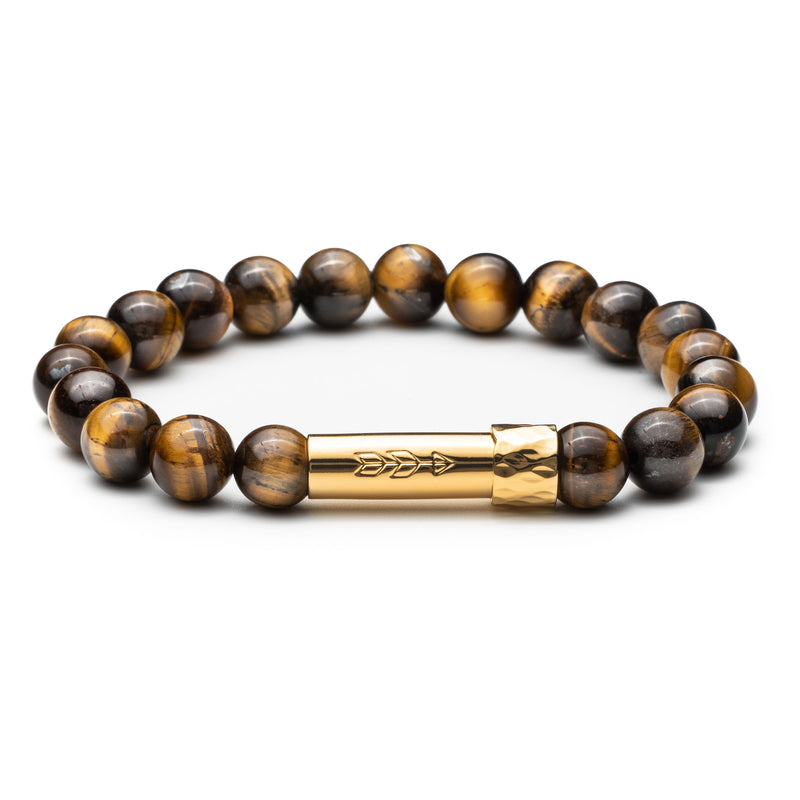 Tigers Eye beaded gemstone bracelet with gold cylinder clasp with handstamped arrow. Clasp unscrews open to hold a scroll of paper inside.
