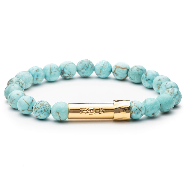 Turquoise Beaded gemstone bracelet with gold secret clasp for a hidden paper message to go inside