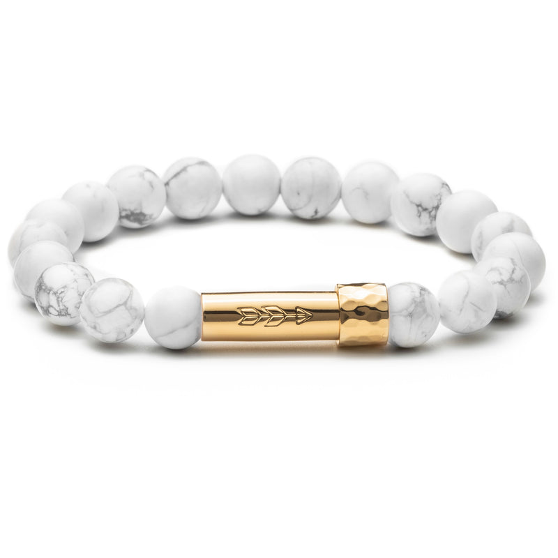 White gemstone beaded wish bracelet with gold secret clasp for a hidden paper message to go inside