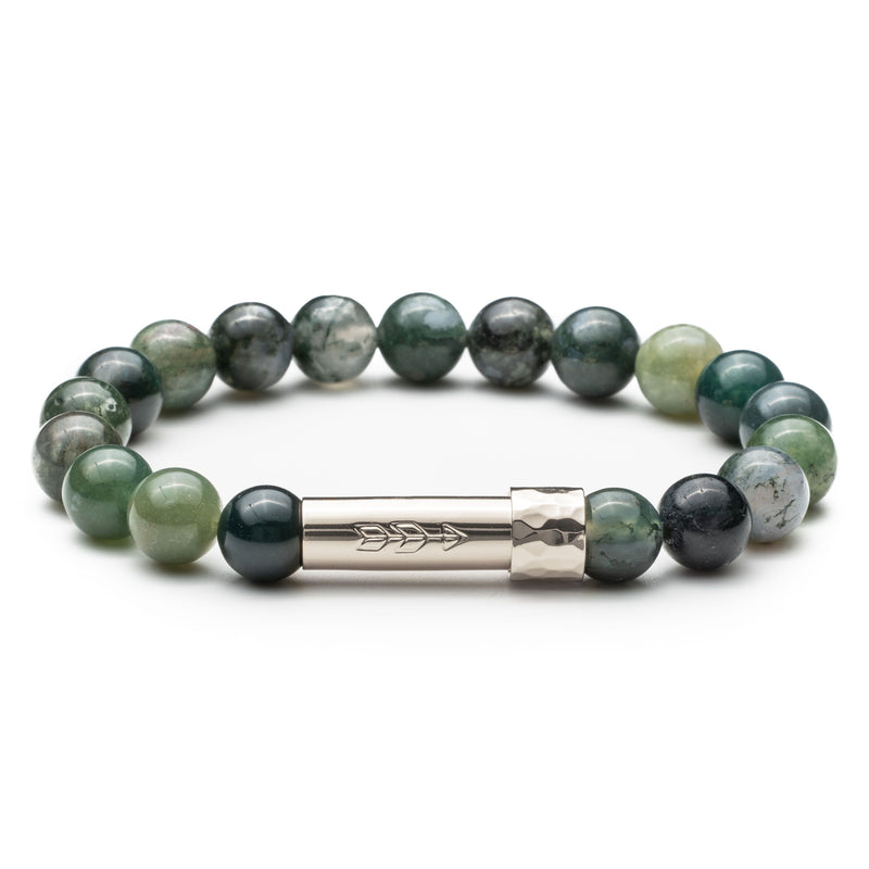 Green moss agate gemstone beaded intention bracelet with silver tube cylinder clasp that unscrews to hold a scroll of paper. Clasp features a handstamped arrow.