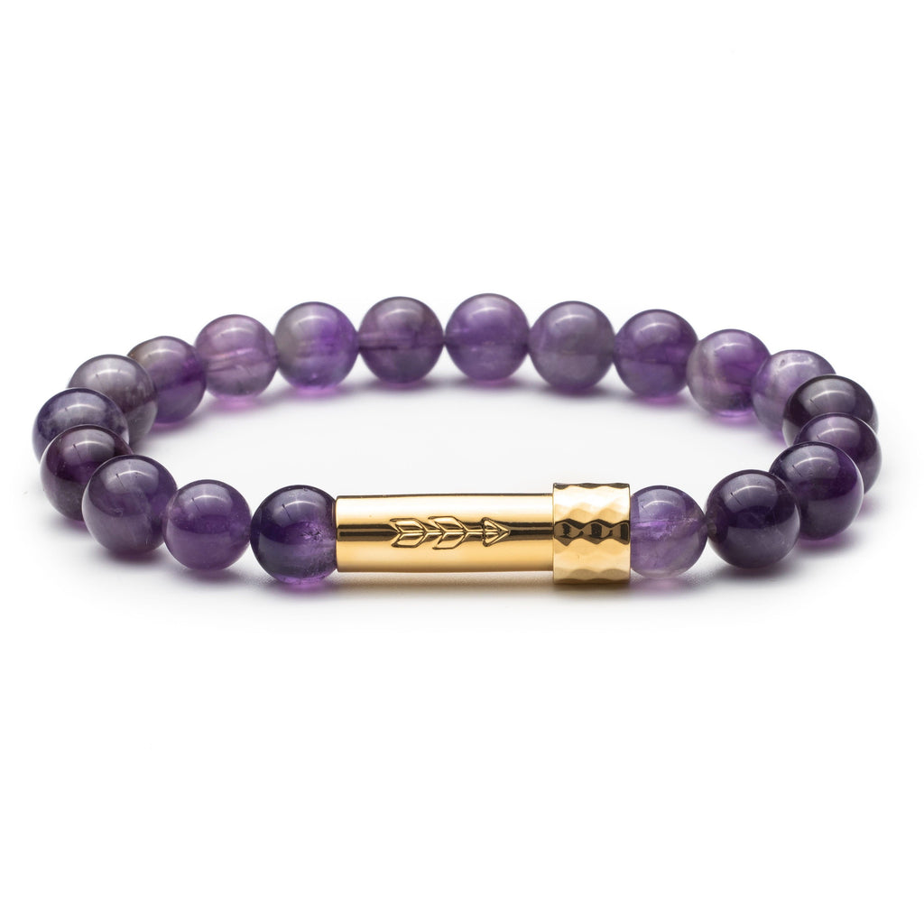Purple Amethyst gemstone beaded intention bracelet with gold tube clasp with handstamped arrow. Clasp unscrews to allow for a small paper scroll to be inserted with a mantra.