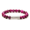 Dark Pink Beaded gemstone bracelet with silver secret clasp to put a paper message inside