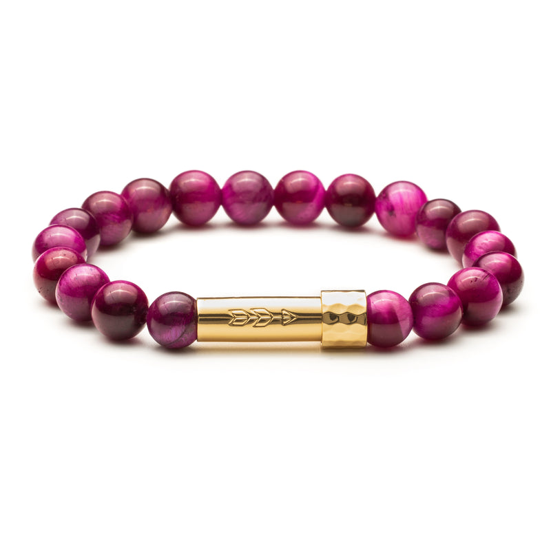 Hot pink fuchsia tigers eye beaded gemstone wish bracelet with gold cylinder clasp that unscrews to hold a secret piece of paper rolled up inside. Clasp features a handstamped arrow.
