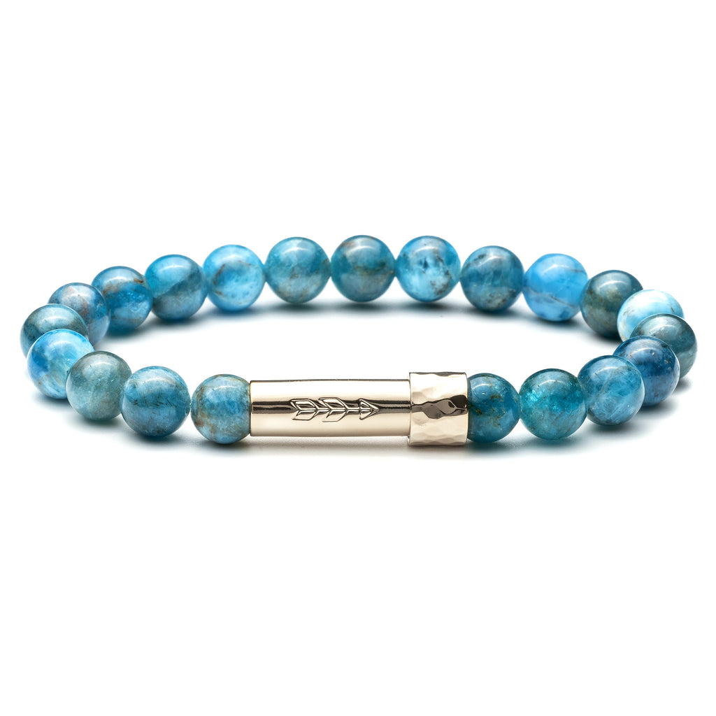 Blue Apatite beaded gemstone wish bracelet with silver cylinder clasp that unscrews to hold a secret piece of paper rolled up. Clasp features a handstamped arrow.