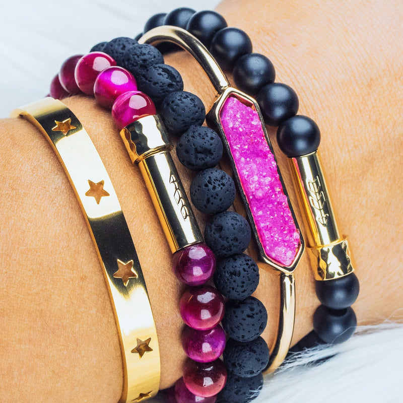 Dark pink and black gemstone beaded bracelet stack with gold secret message clasps