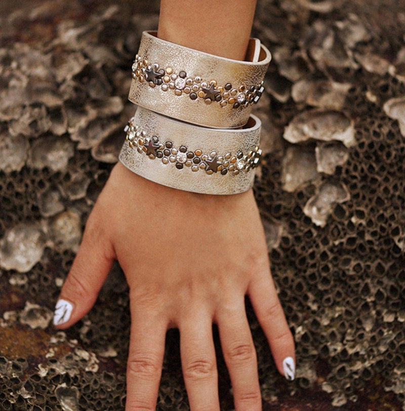 Gold and silver metallic leather studded bracelets