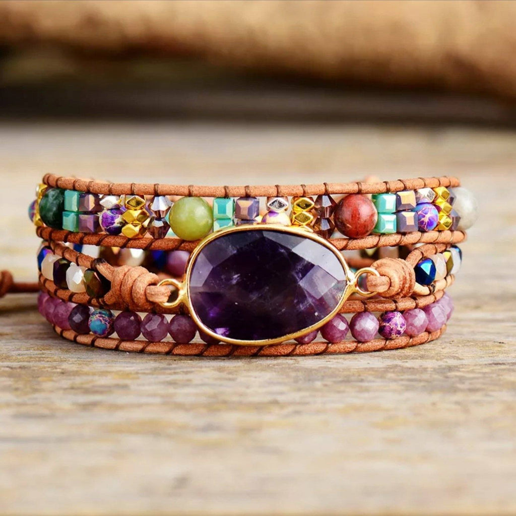 3 layer leather and gemstone boho wrap bracelet with large Amethyst centerpiece and Lepidolite accents