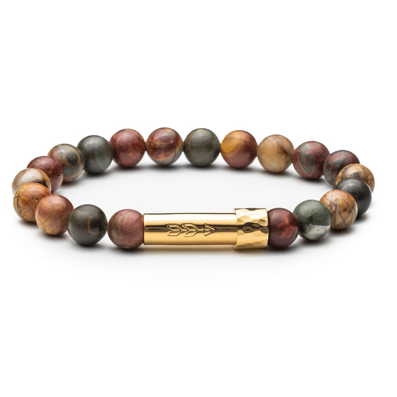 Earth-toned gemstone beaded wish bracelet that holds a wish inside the gold tube clasp