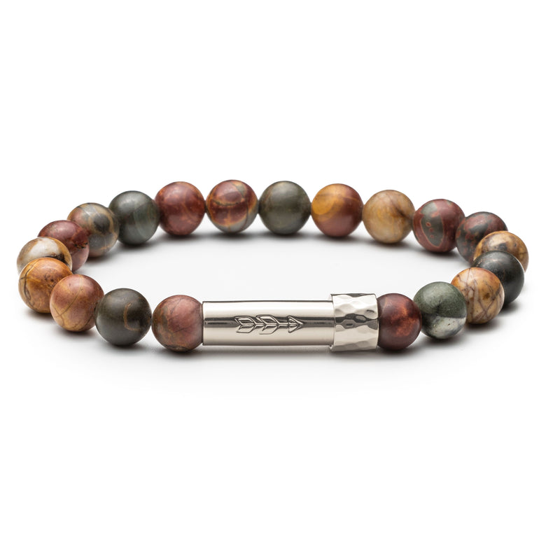 Earth-toned gemstone beaded wish bracelet that holds a wish inside the silver tube clasp