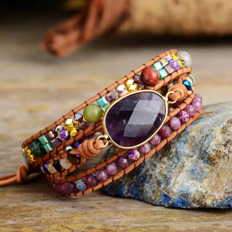 3 layer leather and gemstone boho wrap bracelet with large Amethyst centerpiece and pink Lepidolite accents