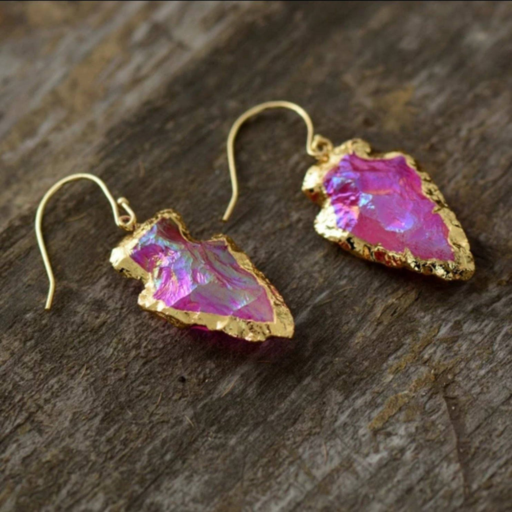 Magenta Quartz<br> Arrowhead Earrings